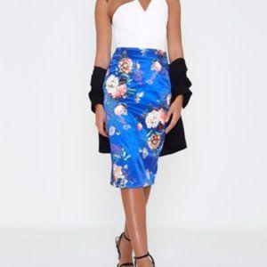 River Island Blue floral Pencil Skirt - Size 14